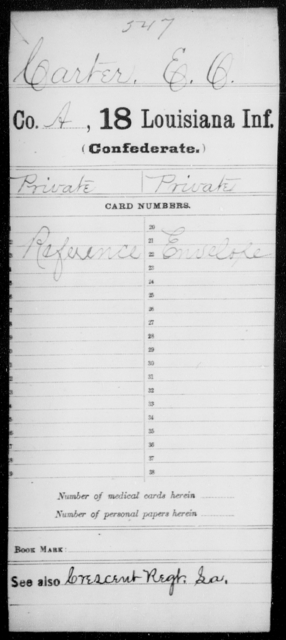 Carter, E O - Age [Blank], Year: [Blank] - Eighteenth Infantry, Br - C - Louisiana