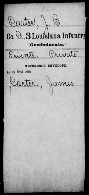Carter, J B - Age [Blank], Year: [Blank] - Third Infantry, C - D - Louisiana