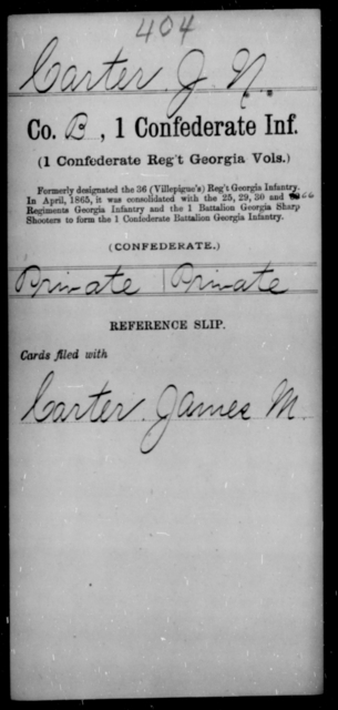 Carter, J N - Age [Blank], Year: [Blank] - First Confederate Infantry, C-E - Raised Directly by the Confederate Government