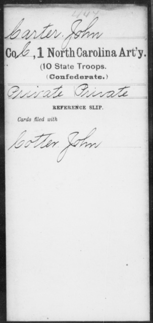 Carter, John - First Artillery (10th State Troops)