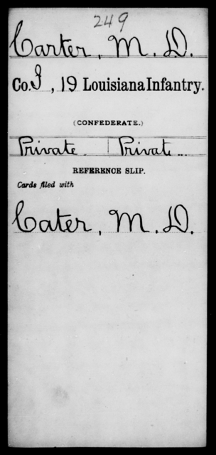 Carter, M D - Age [Blank], Year: [Blank] - Nineteenth Infantry, C - Fa - Louisiana