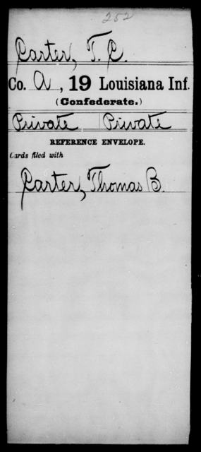 Carter, T C - Age [Blank], Year: [Blank] - Nineteenth Infantry, C - Fa - Louisiana