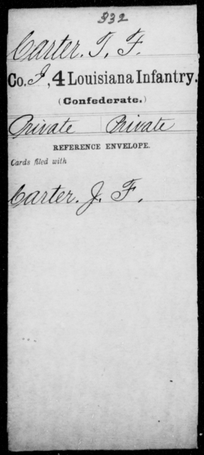 Carter, T F - Age [Blank], Year: [Blank] - Third Regiment, First Brigade, First Division, Militia,, A- K - Louisiana