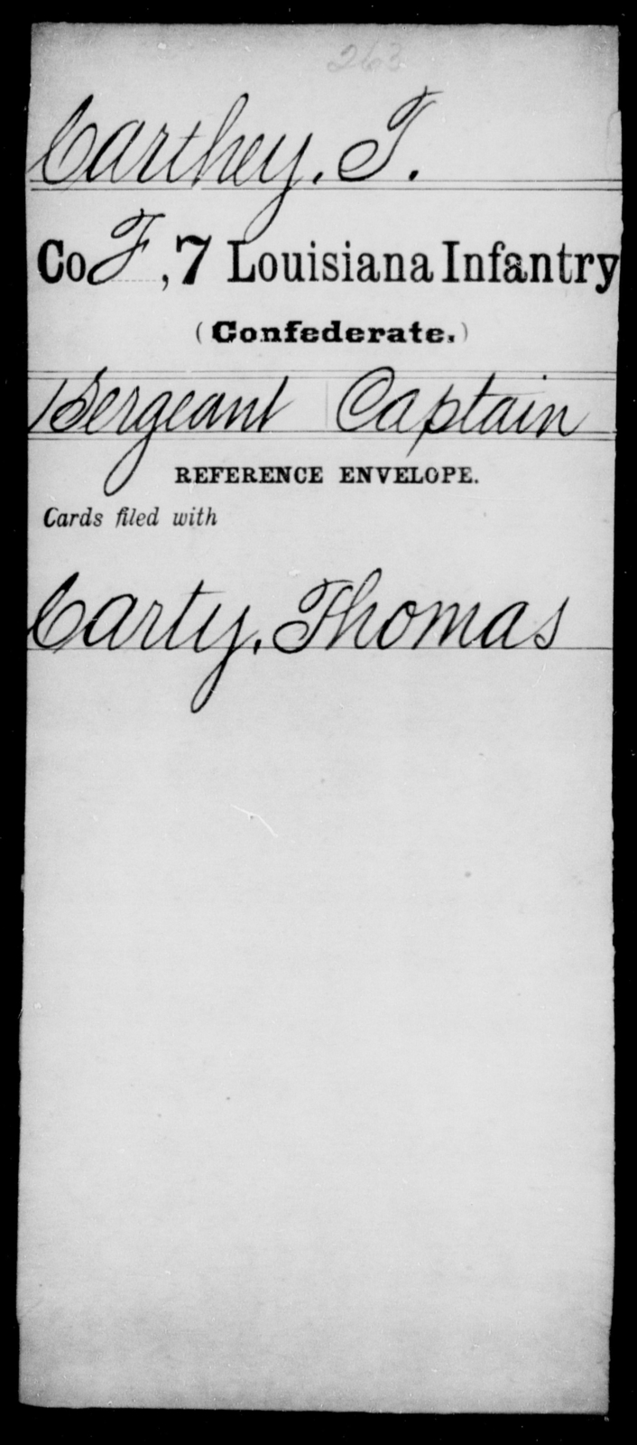 Carthey, T - Age [Blank], Year: [Blank] - Seventh Infantry, Bu - Cr - Louisiana