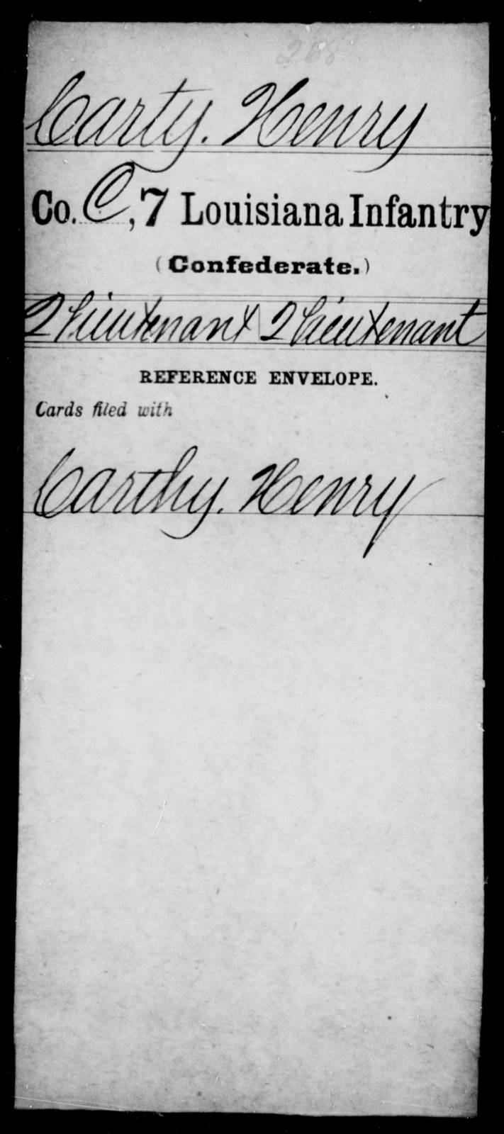 Carty, Henry - Age [Blank], Year: [Blank] - Seventh Infantry, Bu - Cr - Louisiana