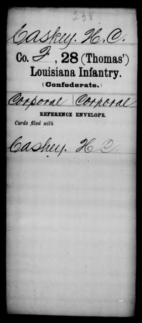 Caskey, H C - Age [Blank], Year: [Blank] - Twenty-eighth (Thomas') Infantry, C - G - Louisiana