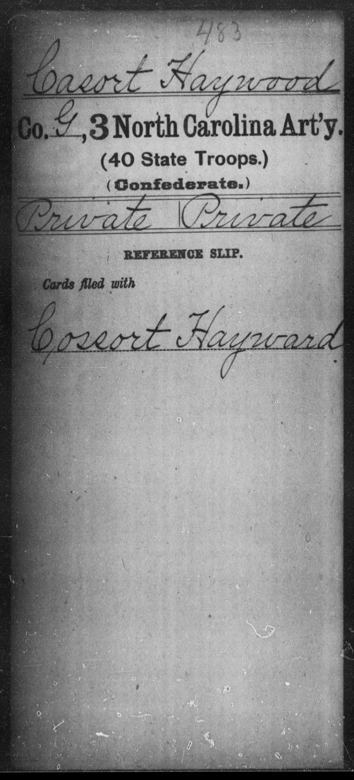 Casort, Haywood - Third Artillery (40th State Troops)