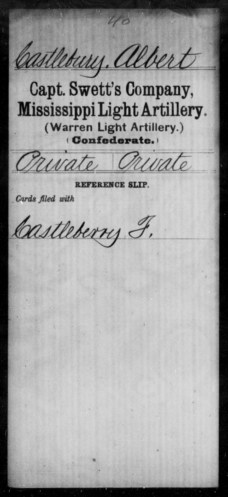 Castleberry, Albert - Age: [Blank], Year: [BLANK] - Mississippi Capt. Stanford's Co., Light Artillery, D-W AND Capt. Swett's Co., Light Artillery (Warren Light Artillery), A-O