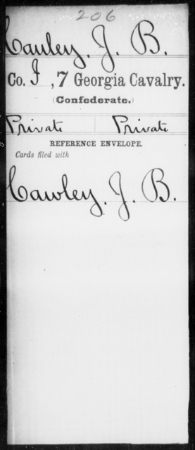 Cauley, J B - 6th Battalion, Cavalry (StateGuards) AND 7th Cavalry