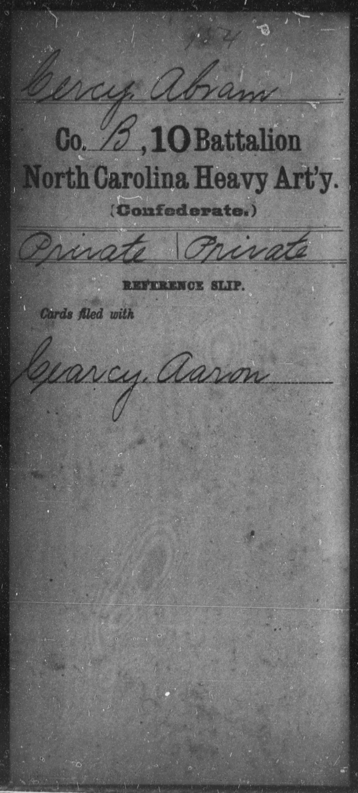 Cercy, Abram - Tenth Battalion, Heavy Artillery