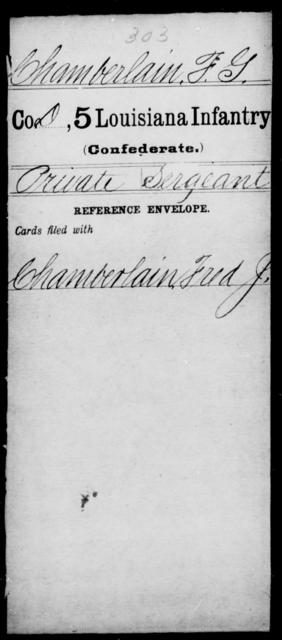 Chamberlain, F G - Age [Blank], Year: [Blank] - Militia, R - Z - Louisiana