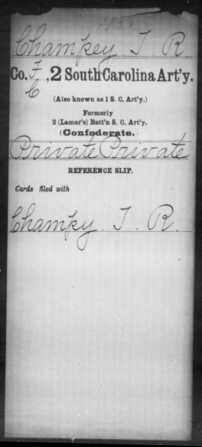 Champey, T R - Age: [Blank], Year: [BLANK] - South Carolina Second Artillery Br-C