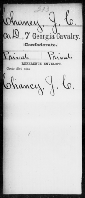 Chaney, Jacob C - 6th Battalion, Cavalry (StateGuards) AND 7th Cavalry