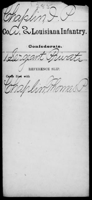 Chaplin, I P - Age [Blank], Year: [Blank] - Second Infantry, Br - Co - Louisiana