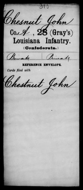 Chesnut, John - Age [Blank], Year: [Blank] - Twenty-eighth (Gray's) Infantry, A - Cl - Louisiana