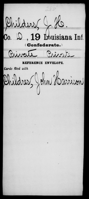 Childers, J H - Age [Blank], Year: [Blank] - Nineteenth Infantry, C - Fa - Louisiana