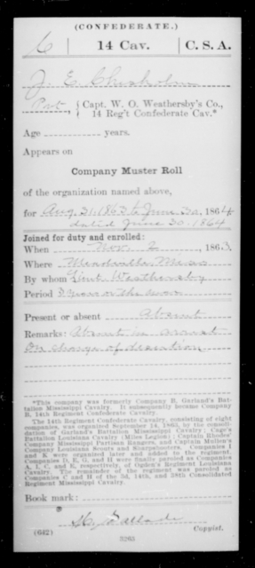 Chilsholm, J E - Age [Blank], Year: 1864 - Fourteenth Confederate Cavalry, A-K - Raised Directly by the Confederate Government