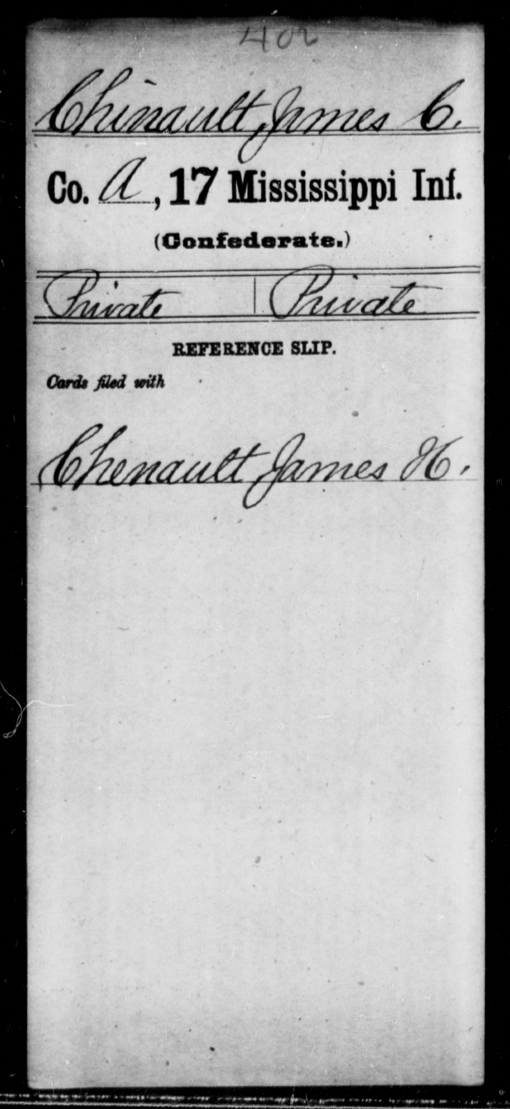 Chinault, James C - Age: [Blank], Year: [BLANK] - Mississippi Seventeenth Infantry, Bo-Ch