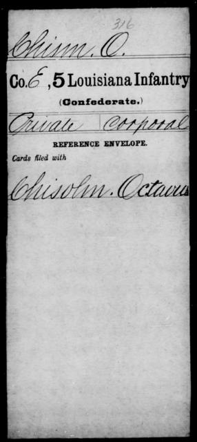 Chism, O - Age [Blank], Year: [Blank] - Militia, R - Z - Louisiana