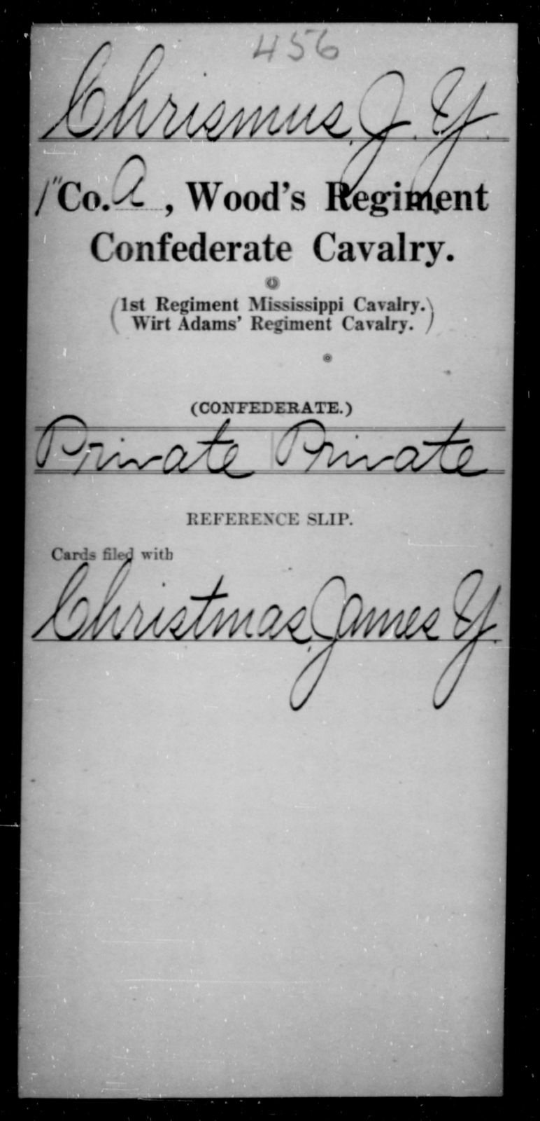 Chrismus, J Y - Age [Blank], Year: [Blank] - Wood's Regiment, Confederate Cavalry, Ce-E - Raised Directly by the Confederate Government