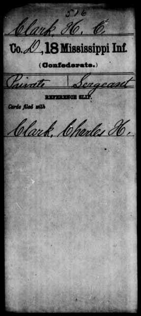 Clark, H C - Age: [Blank], Year: [BLANK] - Mississippi Eighteenth Tnfantry, Ca-Coo