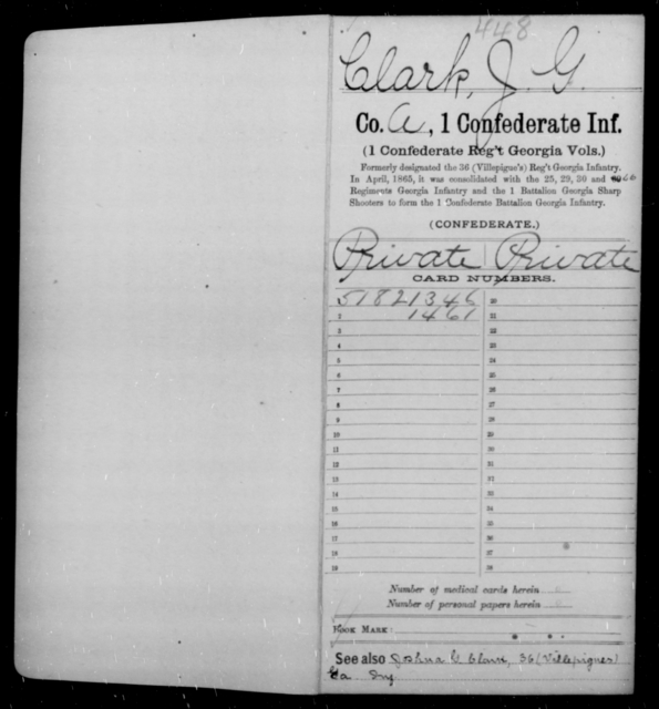 Clark, J G - Age 21, Year: 1862 - First Confederate Infantry, C-E - Raised Directly by the Confederate Government