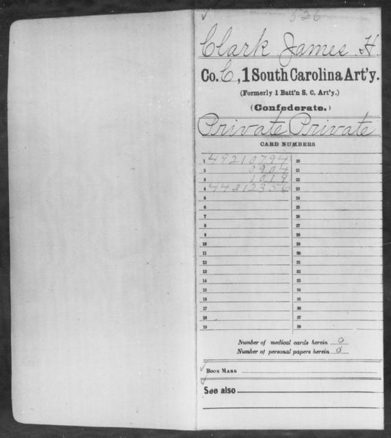 Clark, James H - Age: [Blank], Year: 1862 - South Carolina First Artillery Bu-Da