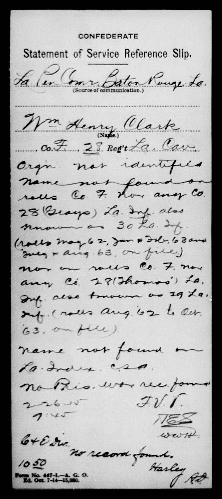 Clark, Wm Henry - Age [Blank], Year: [Blank] - Nineteenth Infantry, C - Fa - Louisiana