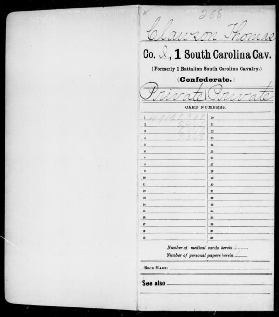 Clawson, Thomas - Age: [Blank], Year: 1864 - South Carolina First Cavalry C-E