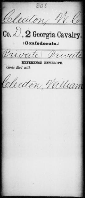 Cleaton, W C - 1st Gordon Squadron, Cavalry (State Guards), 2d Georgia Cavalry AND 2d Georgia Cavalry