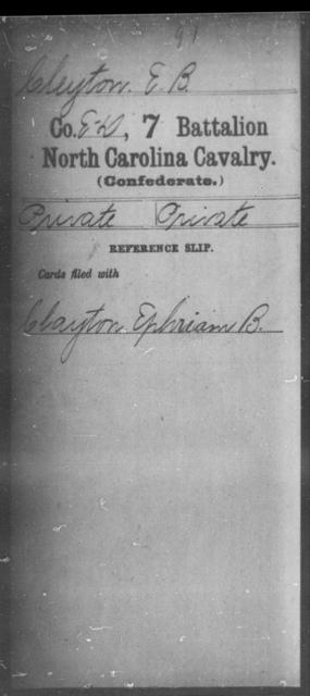 Cleyton, E B - Seventh Battalion, Cavalry