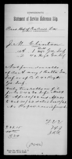 Clinton, John N - Age [Blank], Year: [Blank] - First Confederate Infantry, C-E - Raised Directly by the Confederate Government