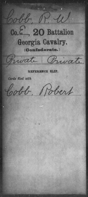 Cobb, R W - 20th Battalion, Cavalry