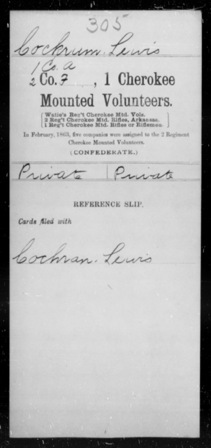 Cockrum, Lewis - Age [Blank], Year: [Blank] - First Cherokee Mounted Volunteers, A-K - Raised Directly by the Confederate Government