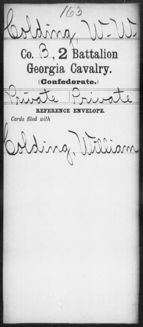 Colding, W W - 2d Battalion, Cavalry