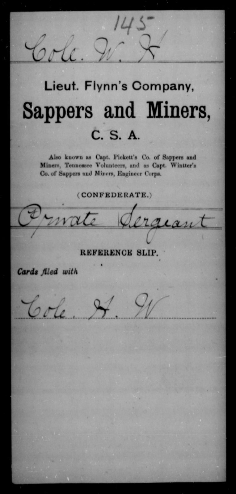 Cole, W H - Age [Blank], Year: [Blank] - Sappers and Miners, A-K - Raised Directly by the Confederate Government