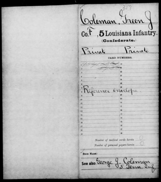 Coleman, Green J - Age [Blank], Year: 1861 - Militia, R - Z - Louisiana