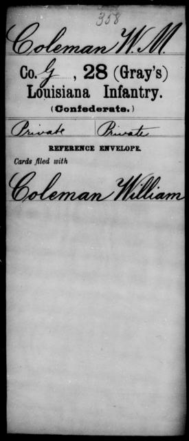 Coleman, W M - Age [Blank], Year: [Blank] - Twenty-eighth (Gray's) Infantry, Co - G - Louisiana