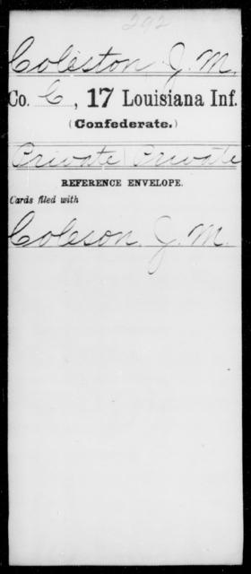 Coleston, J M - Age [Blank], Year: [Blank] - Seventeenth Infantry, Cl- F - Louisiana