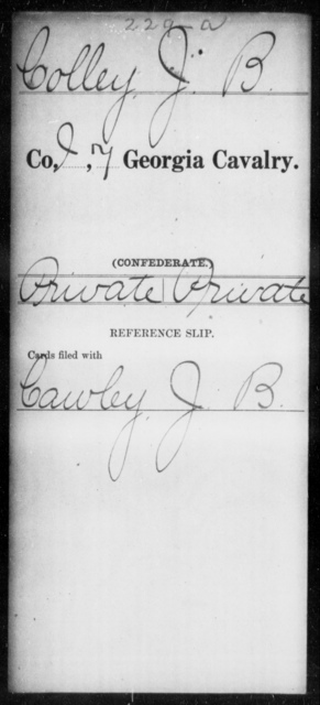 Colley, J B - 6th Battalion, Cavalry (StateGuards) AND 7th Cavalry