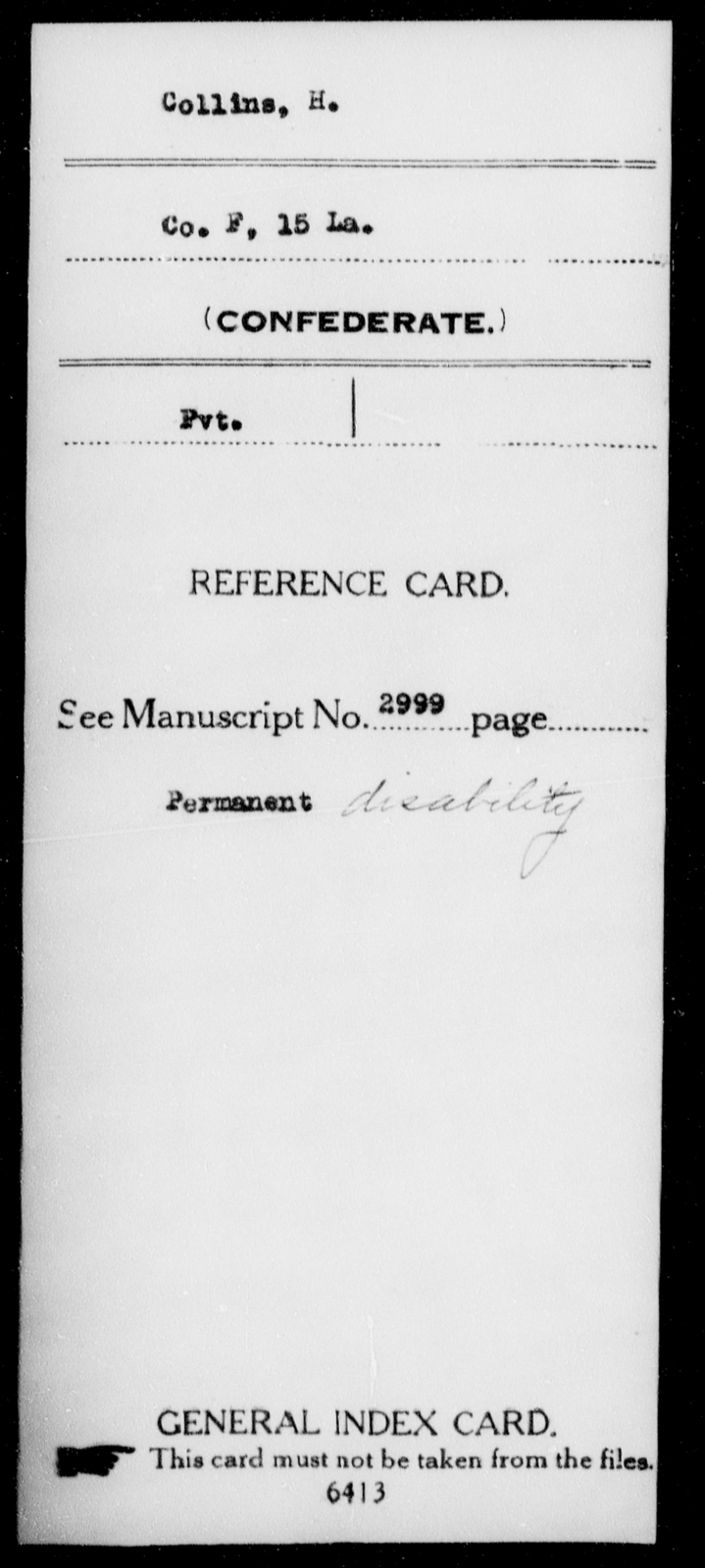 Collins, H - Age [Blank], Year: [Blank] - Fifteenth Infantry, Cl - Em - Louisiana