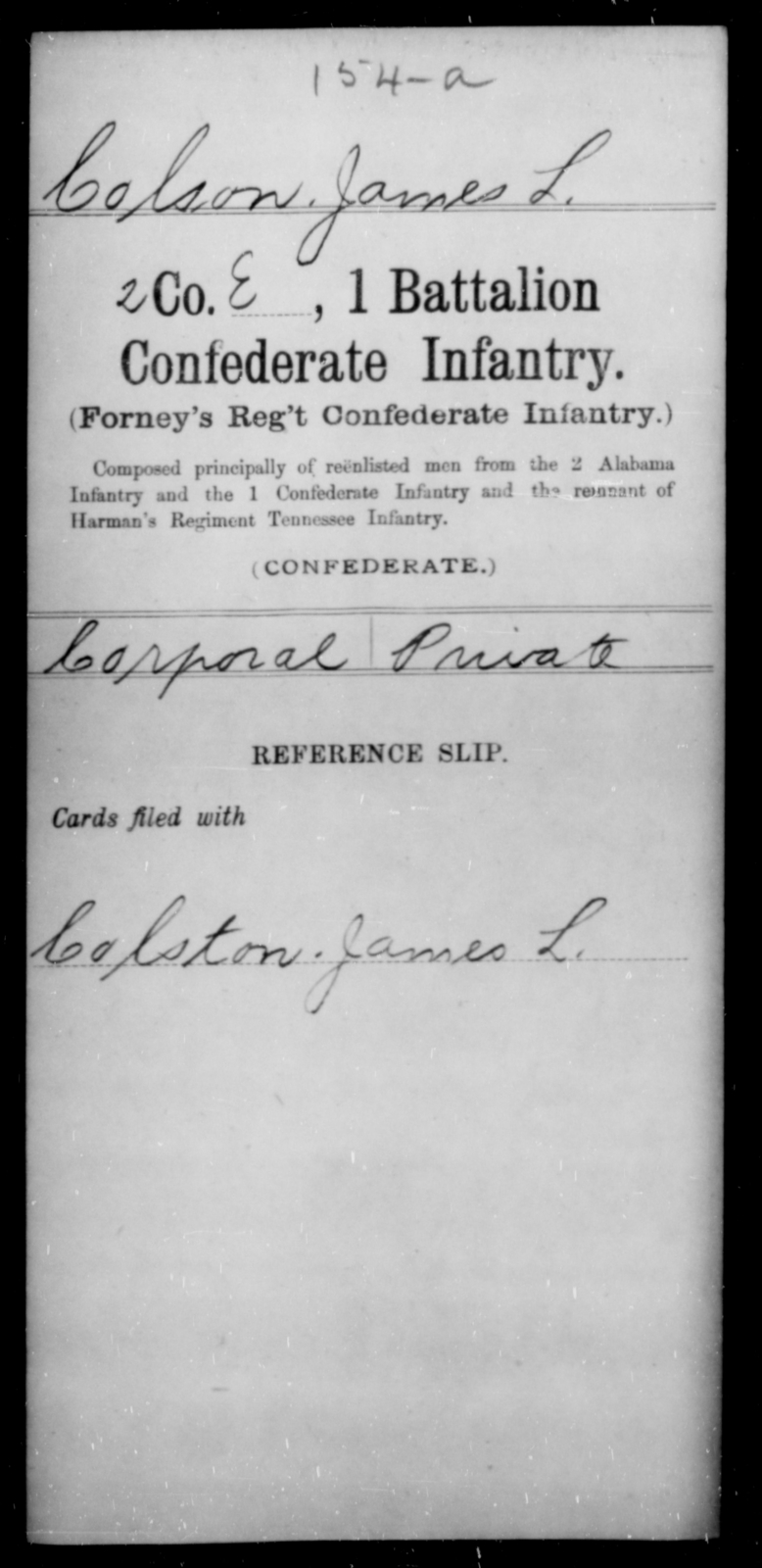 Colson, James L - Age [Blank], Year: [Blank] - First Battalion, Confederate Infantry, A-K - Raised Directly by the Confederate Government
