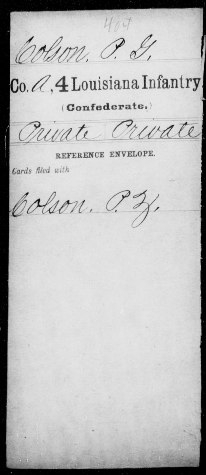 Colson, P G - Age [Blank], Year: [Blank] - Third Regiment, First Brigade, First Division, Militia,, A- K - Louisiana