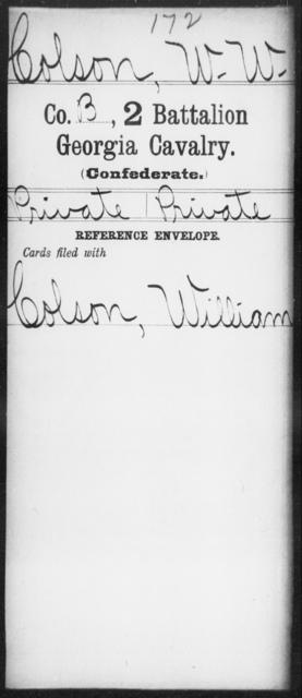 Colson, W W - 2d Battalion, Cavalry