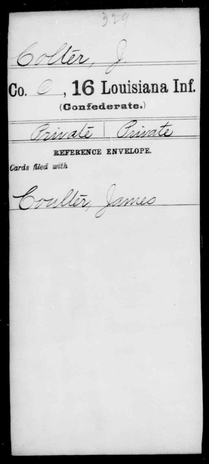 Colter, J - Age [Blank], Year: [Blank] - Sixteenth Infantry, Ch - D - Louisiana