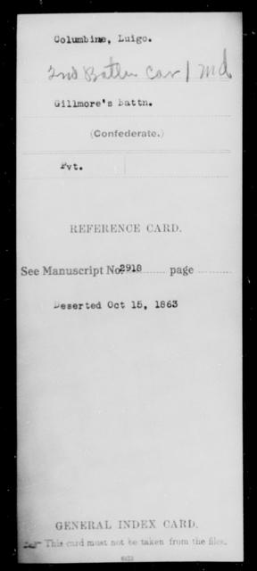 Columbine, Luigo - Age [Blank], Year: [Blank] - Second Battalion, Cavalry, A-La - Maryland