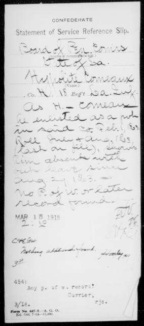 Comeau, Hypolite - Age [Blank], Year: [Blank] - Eighteenth Infantry, Br - C - Louisiana