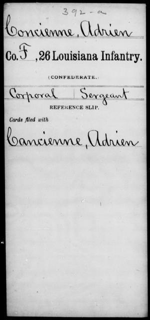 Concienne, Adrien - Age [Blank], Year: [Blank] - Twenty-sixth Infantry, Ce - Gr - Louisiana