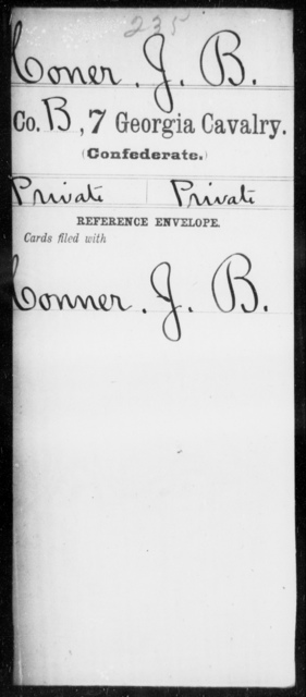 Coner, J B - 6th Battalion, Cavalry (StateGuards) AND 7th Cavalry
