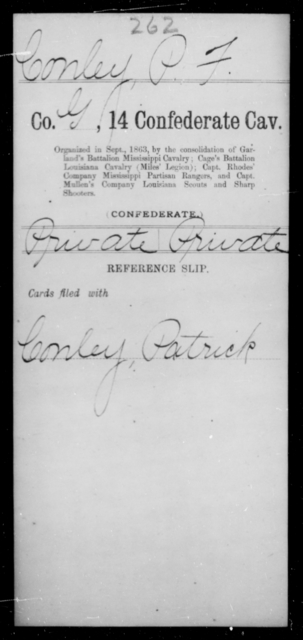 Conley, P F - Age [Blank], Year: [Blank] - Fourteenth Confederate Cavalry, A-K - Raised Directly by the Confederate Government